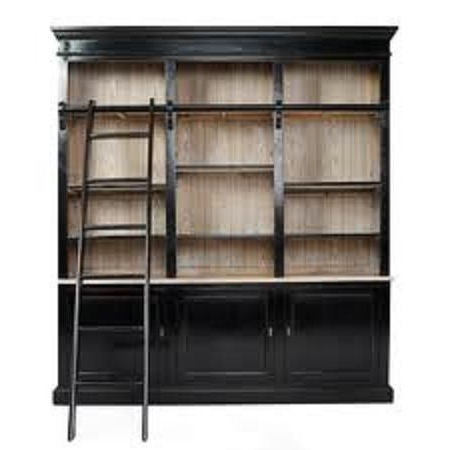 Wall Of Bookshelves With A Rolling Ladder 'on The Cheap': 8 Steps Within Well Known Bookcases With Ladder And Rail (View 4 of 15)