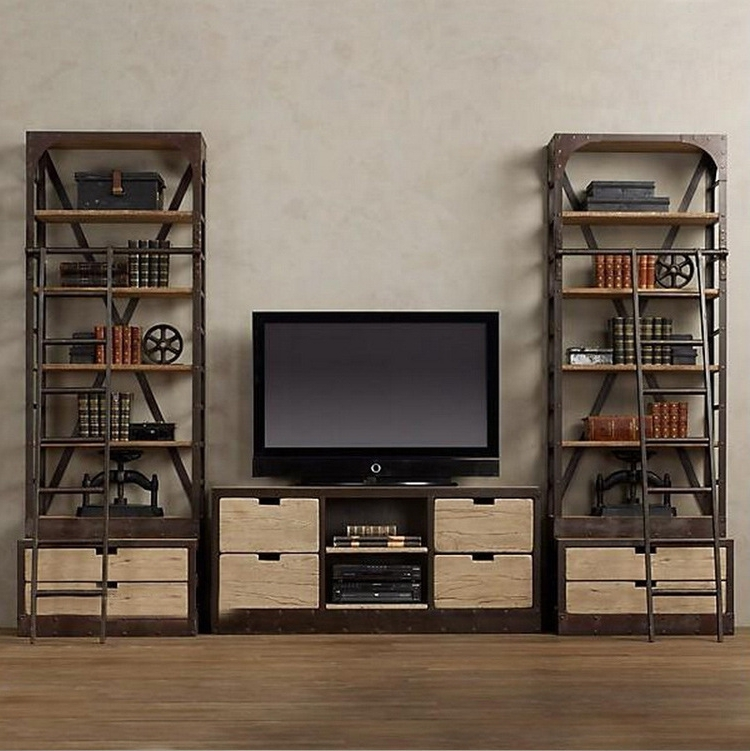 Wall Units: Glamorous Bookcase With Tv Shelf Tv Entertainment Intended For 2017 Tv Unit And Bookcases (View 11 of 15)