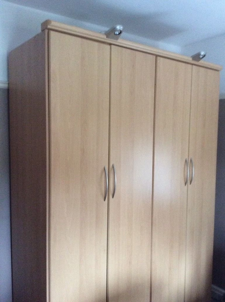 Wardrobe Large Double With Clothes Rails & 2 Shelves In Light Oak Within Preferred Large Double Rail Wardrobes (View 7 of 15)