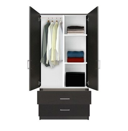 Wardrobe With Shelves And Drawers Throughout 2018 Alta Wardrobe Armoire – 2 Drawer Wardrobe, Shelves, Hangrod (View 11 of 15)