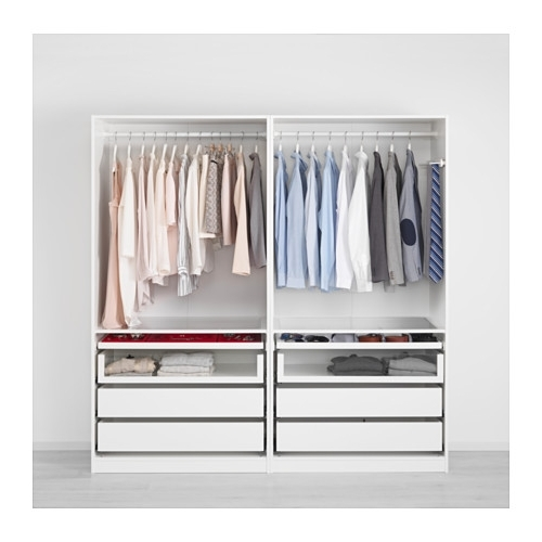 Wardrobes Drawers And Shelves Ikea Pertaining To Recent Pax Wardrobe White/auli Mirror Glass 200X66X201 Cm – Ikea (View 11 of 15)