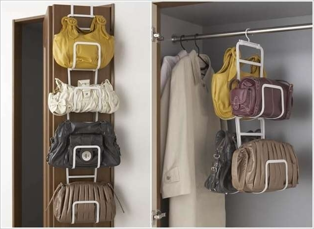 Wardrobes Hangers Storages With Most Recently Released Creative Idea : Creative White Modern Hanging Handbags Hanger (View 14 of 15)