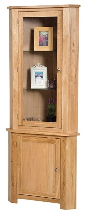 Waverly Oak Large Corner Display Cabinet In Light Oak Finish For 2017 Large Cupboard With Shelves (View 14 of 15)