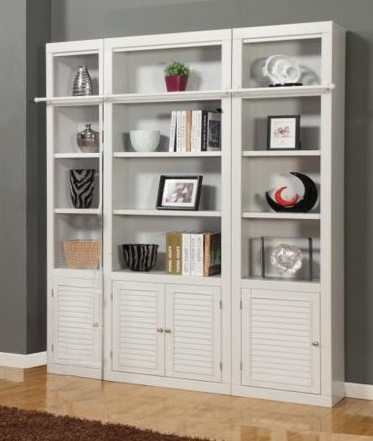 Well Known 3 Piece Bookcase Library Wall In Cottage White Finishparker Regarding Wall Library Bookcases (View 14 of 15)