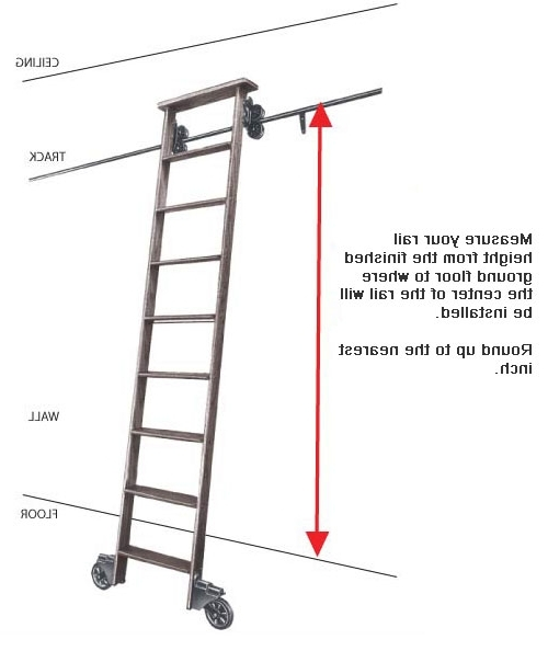 "Well Known Cotterman Wood Rolling Library Ladder Kit – Track Height Up To 11'3"" With Library Ladder Kit (View 14 of 15)"