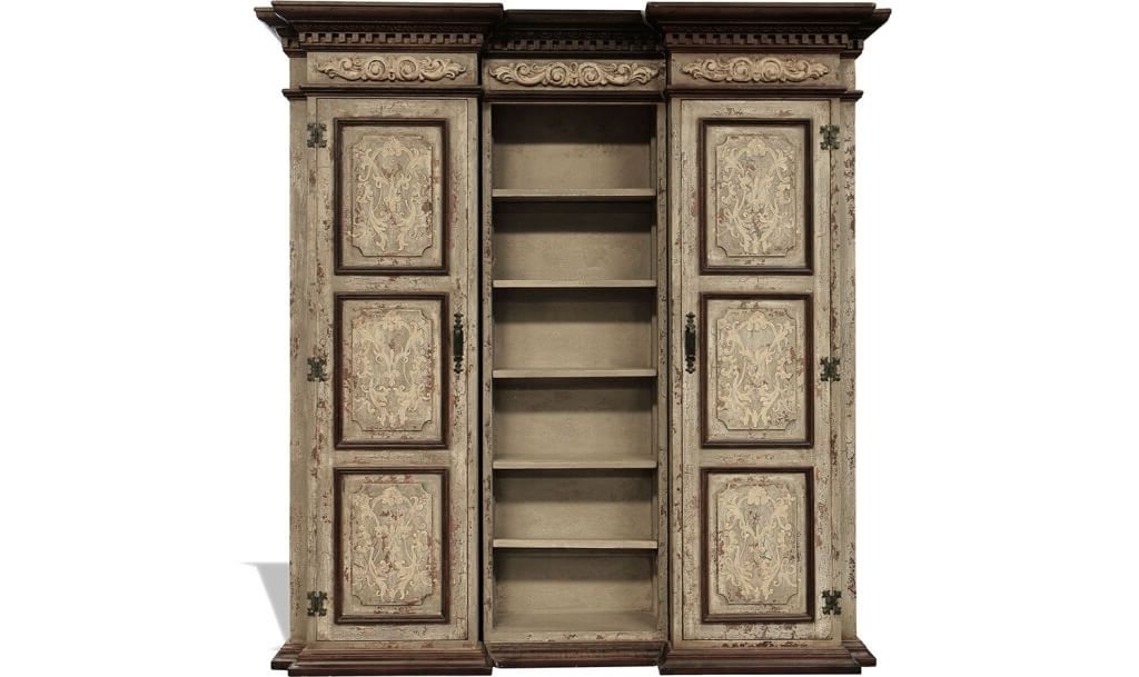 Well Known Distressed Wood Bookcases Within Furniture: Large Distressed Bookcase And Old Battista Distressed (View 14 of 15)