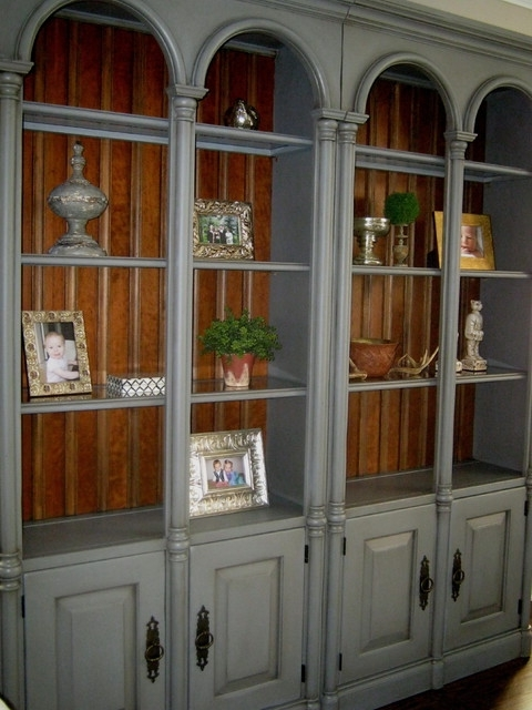Well Known Hand Painted Bookshelves – Transitional – Living Room – Chicago Pertaining To Hand Painted Bookcases (View 15 of 15)