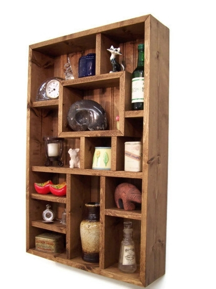 Well Known Handmade Wooden Shelves For Handmade Wall Jewelry Organizer, Display Case, Earring Holder (View 15 of 15)