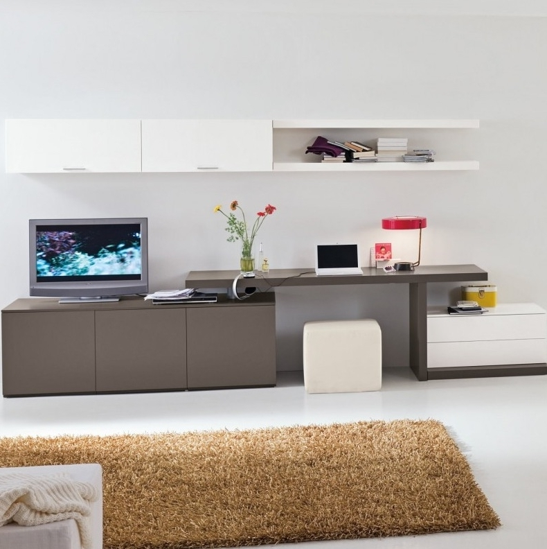 Well Known Modern And Amazing Table Design For Teenagers: White Elegant Study Regarding Study Wall Unit Designs (View 13 of 15)
