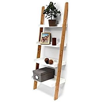 Well Known Relaxdays Bamboo Bookcase: 144 X 56 X 34 Cm Ladder Shelf Unit With In Ladder Shelves (View 15 of 15)
