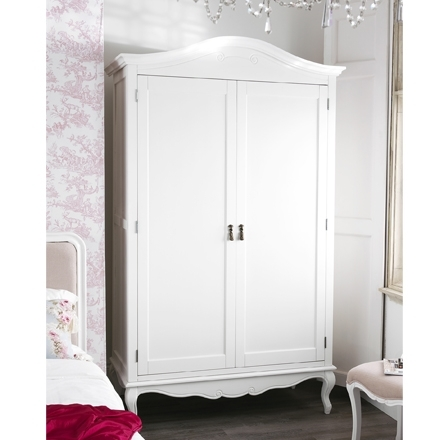 Well Known Rochelle Shabby Chic White Painted Double Wardrobe Pertaining To Double Rail Wardrobe (View 15 of 15)