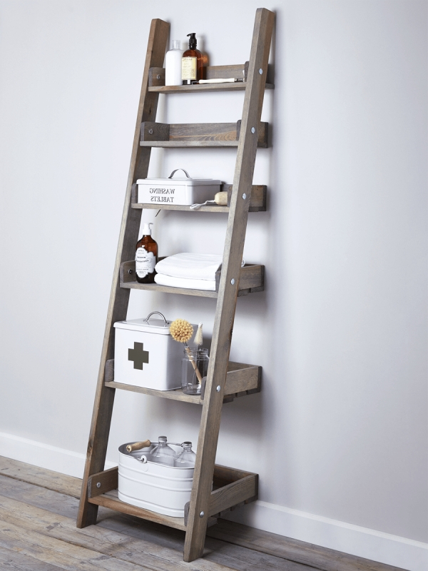 Well Known Rustic Wooden Ladder Shelf – Slim With Ladder Shelves (View 14 of 15)