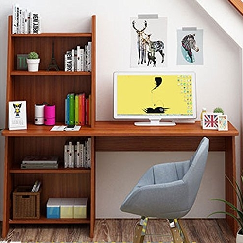 "Well Known Study Desk With Bookshelves For Tribesigns 59"" Computer Desk With 4 Cube Bookshelf, Simple Style (View 5 of 15)"