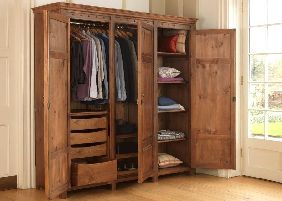 Well Known Wardrobe With Shelves Only 3 Door Wooden Wardrobe With Drawers Pertaining To Wardrobes With Shelves And Drawers (View 13 of 15)