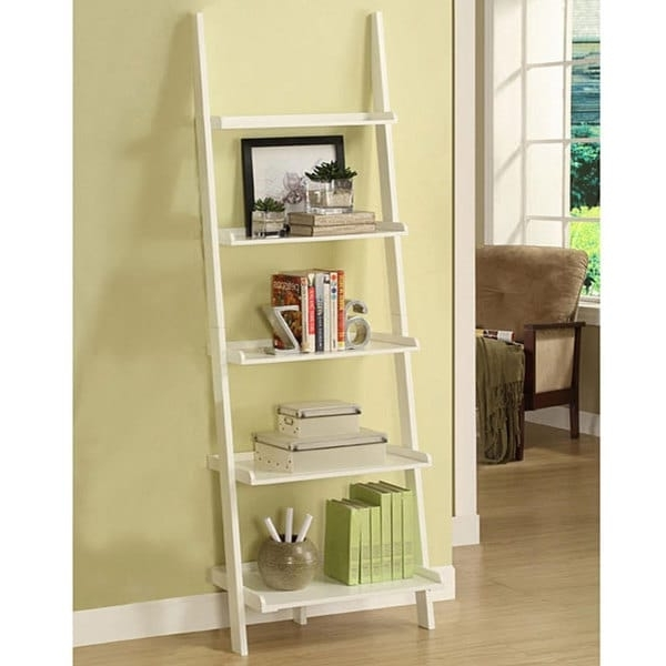 Well Known White Ladder Shelf Inside White Five Tier Leaning Ladder Shelf – Free Shipping Today (View 4 of 15)