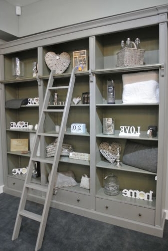 Well Liked Bookcases With Ladder In Grey Fayence Library Bookcase With Ladder / Grey Bookcase With (View 15 of 15)
