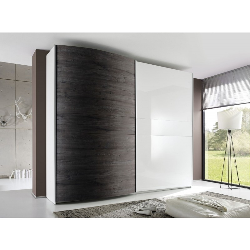 Well Liked Curved Wardrobe Doors With Tambura Curved Sliding Doors Wardrobe, White + Wenge Buy Online At (View 4 of 15)