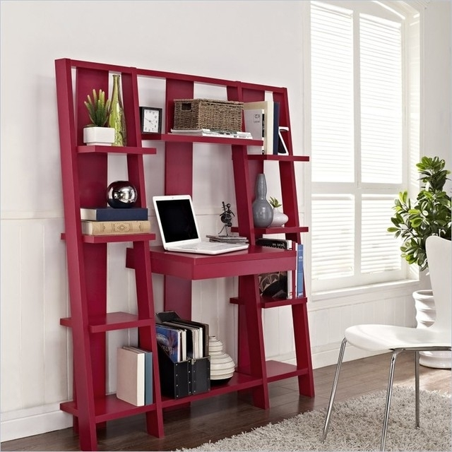 Well Liked Desk With Bookcases Regarding Bookcases Ideas: Computer Desk With Built In 4 Shelf Bookcase (View 14 of 15)