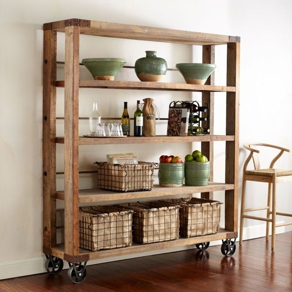 Well Liked Free Standing Shelving Units Wood With Regard To Best 25+ Rolling Shelves Ideas On Pinterest (View 15 of 15)