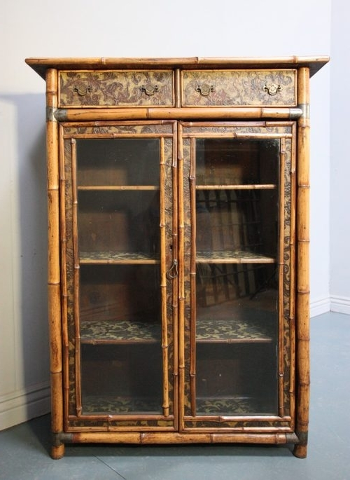 Well Liked Glazed Bookcases With Regard To Antique Bamboo Glazed Bookcase (View 12 of 15)