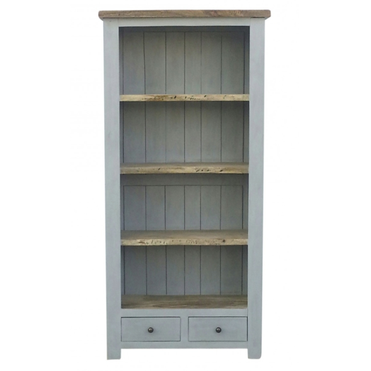 Well Liked Grey Painted 2 Drawer Bookcase With Natural Wooden Top (View 15 of 15)