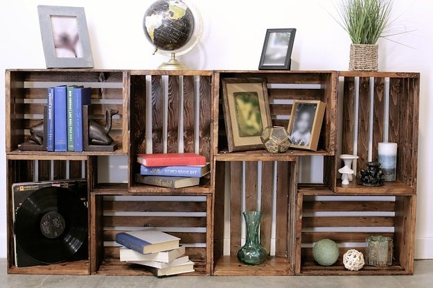 Well Liked Repurpose Bookcases With Regard To Repurpose Old Wooden Crates With This Clever Bookshelf Diy (View 11 of 15)