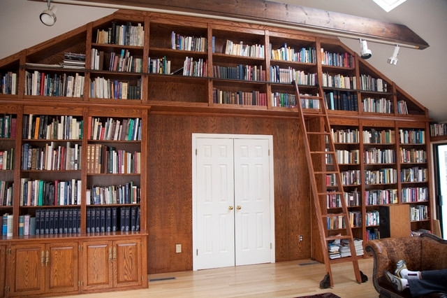 Well Liked Rolling Library Ladder – Traditional – Home Office – Milwaukee Pertaining To Rolling Library Ladder (View 14 of 15)