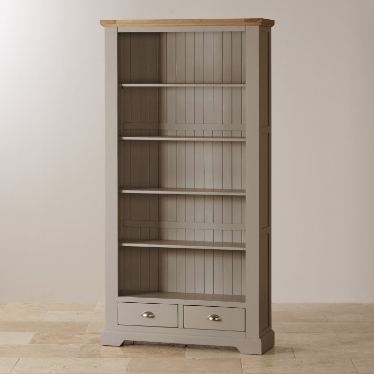 Well Liked St Ives Tall Grey Bookcase With Brushed Natural Oak Top Regarding Painted Oak Bookcases (View 15 of 15)