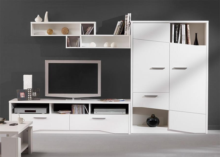 Well Liked Tv Storage Units Regarding Gautier Gami Palace Modern Wall Storage System In White Or Oak (View 15 of 15)