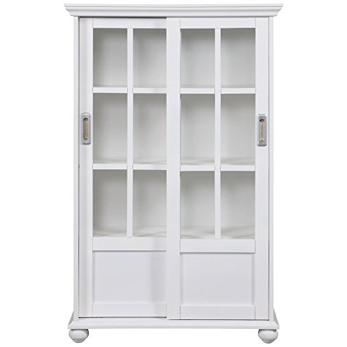 White Bookcases With Cupboard Throughout Well Liked Amazon: Altra 9448096 Bookcase With Sliding Glass Doors, White (View 14 of 15)