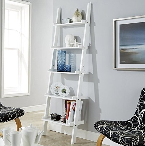 White Ladder Shelving Unit 5 Tier Display Stand – Bookcase Shelf Within Most Up To Date White Ladder Shelf (View 14 of 15)