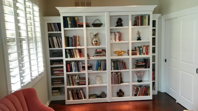 White Library Bookcases In Trendy White Murphy Bed With Pivoting Library Bookcases (View 10 of 15)