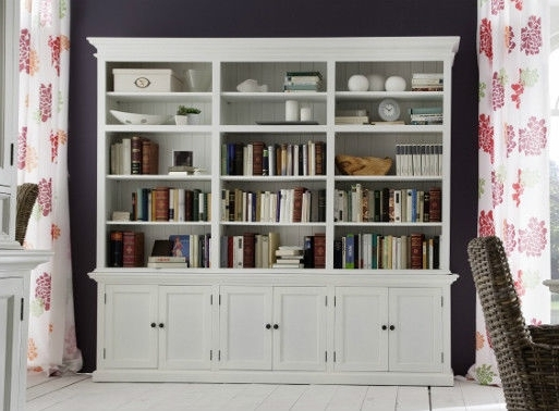 White Library Bookcases Inside Widely Used Large All White Library Hutch Bookcase All White Brand New (View 11 of 15)