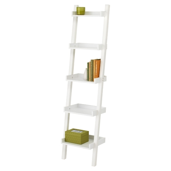 White Linea Narrow Leaning Bookcase The Container Store Thin Regarding Trendy Skinny Bookcases (View 13 of 15)