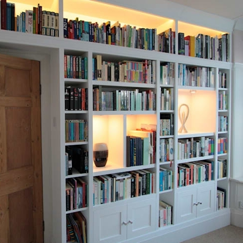 White Painted Wall Shelving And Cupboardfreebird Fitted Pertaining To Famous Fitted Bookshelves (View 7 of 15)