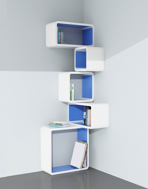 White Wall Shelves In Latest Modular Corner Cube Shelf – M (View 14 of 15)