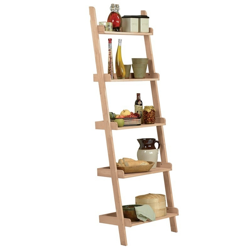 Whitewood Ladder Bookshelf – Leaning Bookcase Pertaining To Most Recently Released Leaning Bookcases (View 15 of 15)