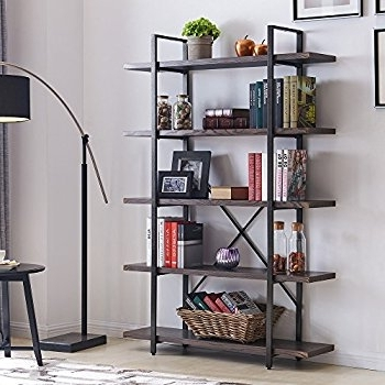 Widely Used Industrial Bookcases Regarding Amazon: Homissue 5 Shelf Industrial Bookshelf And Bookcase (View 14 of 15)