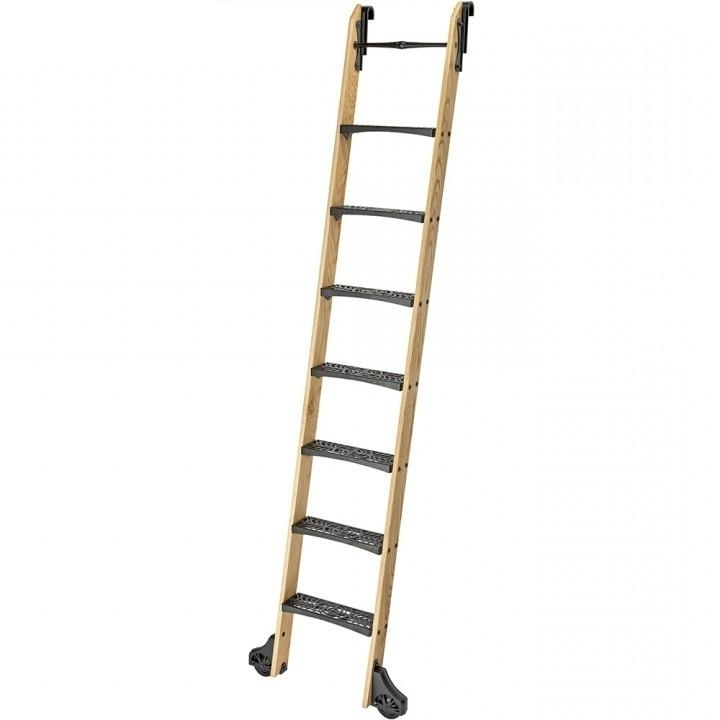 Widely Used Library Ladder With 10u0027 Rockler Vintage Wood Kits For Rolling  Library Ladders (