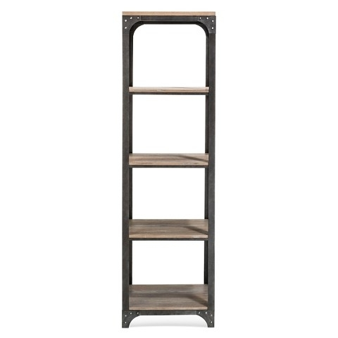 Widely Used Narrow Bookcases Inside Franklin 5 Shelf Narrow Bookcase – The Industrial Shop (View 15 of 15)