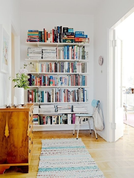 Widely Used Small Space Secrets: Swap Your Bookcases For Wall Mounted Shelving Intended For Wall Mounted Bookcases (View 15 of 15)