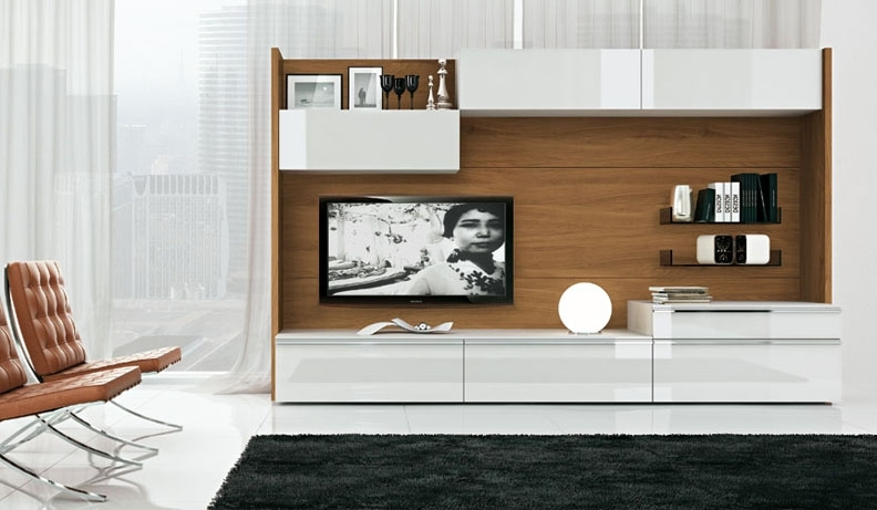 Wood And White Tv Wall Mount With Chairs – Wall Units Design Ideas Throughout Most Up To Date Modern Tv Wall Units (View 15 of 15)