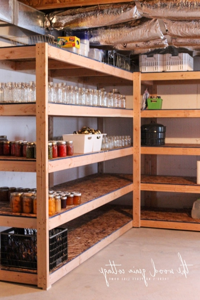 Wood For Shelves Throughout Widely Used Diy Basement Shelving – The Wood Grain Cottage (View 12 of 15)