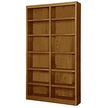 "Wooden Bookshelves Within Well Liked Amazon: Wooden Bookshelves Double Wide 84"" Bookcase Library (View 15 of 15)"