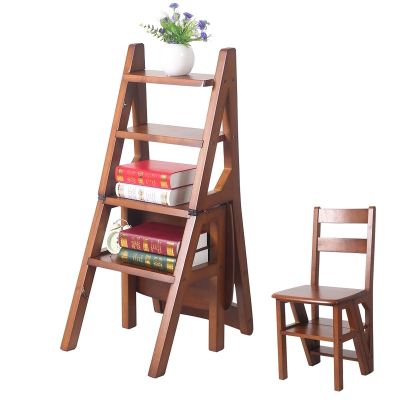 Wooden Library Ladders Throughout Well Known Online Shop Convertible Multi Functional Four Step Library Ladder (View 14 of 15)