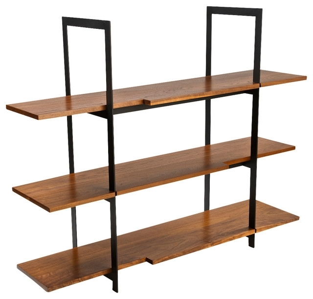Wooden Shelving Units Within Recent Stylo – Wood And Black Steel Shelving Unit – View In Your Room (View 15 of 15)