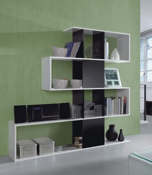 Zig Zag Bookcases Intended For Widely Used Large Zig Zag Bookcase Black And White Gloss It2251Bo (View 12 of 15)