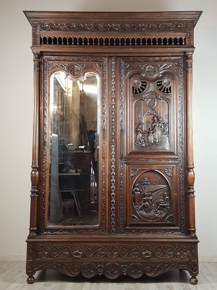 19 Century Large Antique French Renaissance Carved Armoire Inside Trendy Large Antique Wardrobes (Gallery 13 of 15)