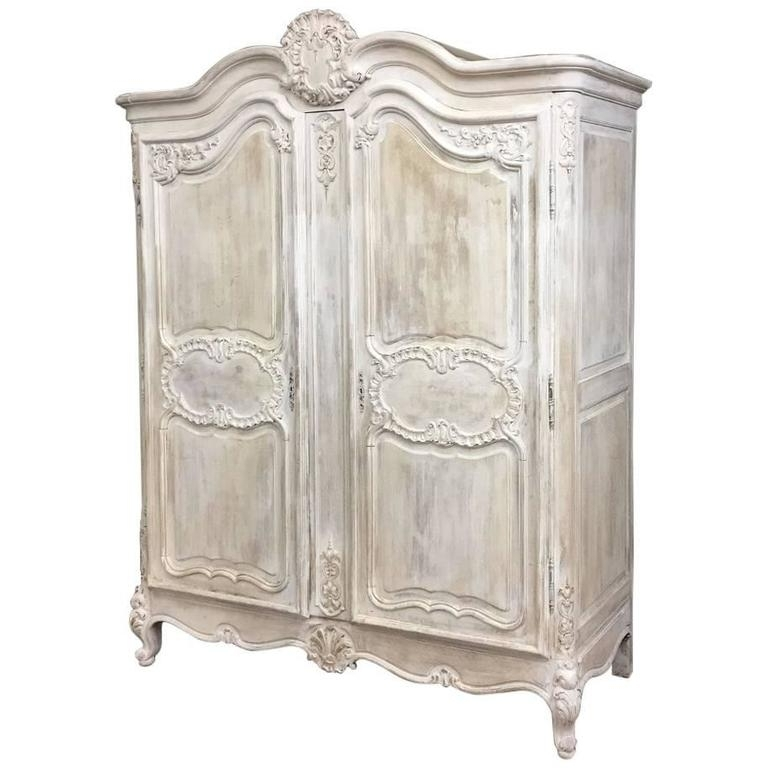 19Th Century Country French Regence Whitewashed Armoire At 1Stdibs Inside Favorite French Armoire Wardrobes (View 1 of 15)
