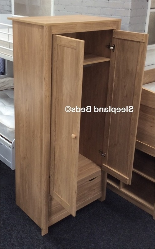 2 Door Wardrobe Or 7 Drawer Chest Of Drawers – White Or Oak, Blue Regarding 2018 Oak Wardrobes With Drawers And Shelves (View 10 of 15)
